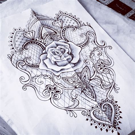 rose with lace tattoo lace baroque mantra sketch something