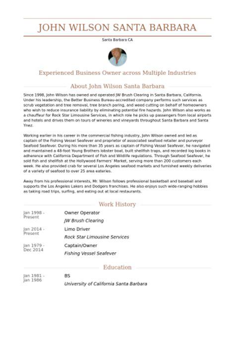 owner operator resume sles visualcv resume sles