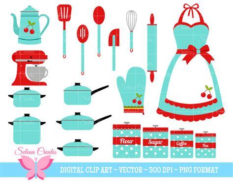 Vintage Kitchen Clipart by Retro Kitchen Clipart Set Digital Clipart Clip Retro