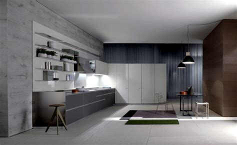 modern fitted kitchen  minimalist aesthetic interior