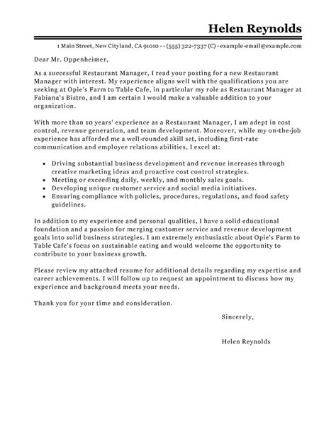 Motivation Letter For Restaurant Best Restaurant Manager Cover Letter Exles Livecareer