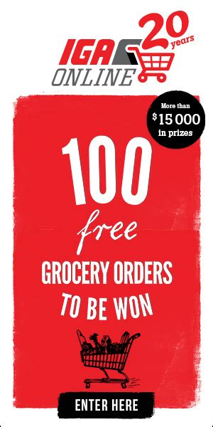 Iga Sweepstakes - iga 100 free grocery orders to be won contest sweepstakes pit