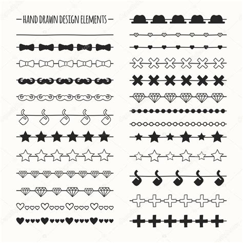 free vector doodle line vector line border set and scribble design