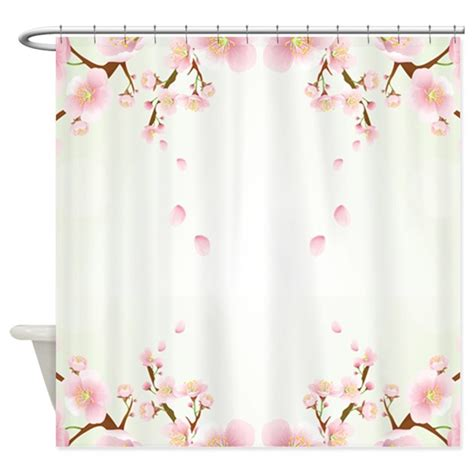 cherry blossom drapes cherry blossom in pink and white shower curtain by artonwear