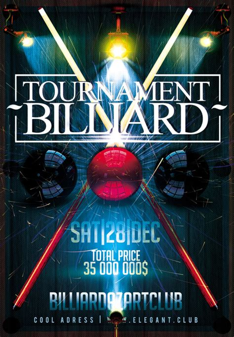 flyer psd template billiard tournament all design