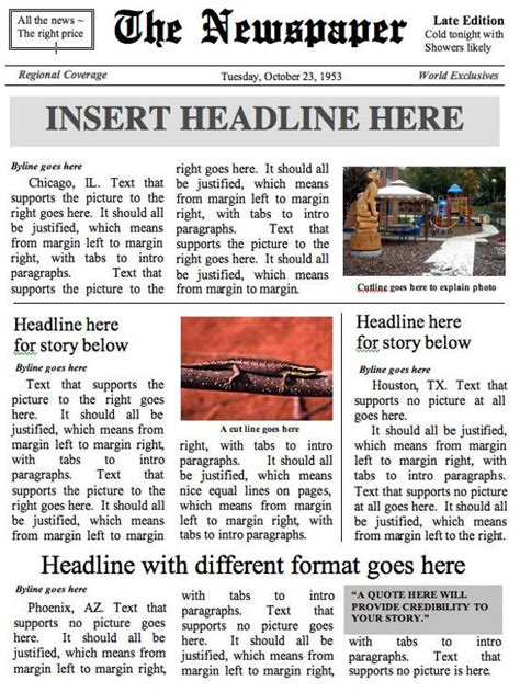 Front Page Newspaper Template Ms Word Document Microsoft Word Newspaper Template