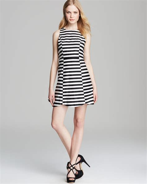 Anelia Black Polka lyst minkpink dress monochrome pop stripe in black