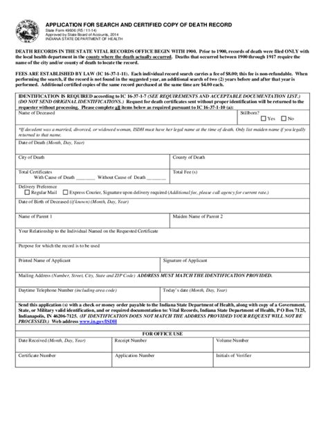 Indiana Divorce Records Free Application For Search And Certified Copy Of Record