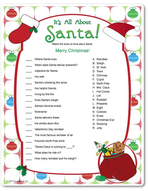 free printable holiday games adults printable it s all about santa funsational com