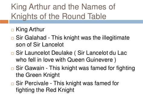Knights Of The Table List by Contribution Of Knights In Literature