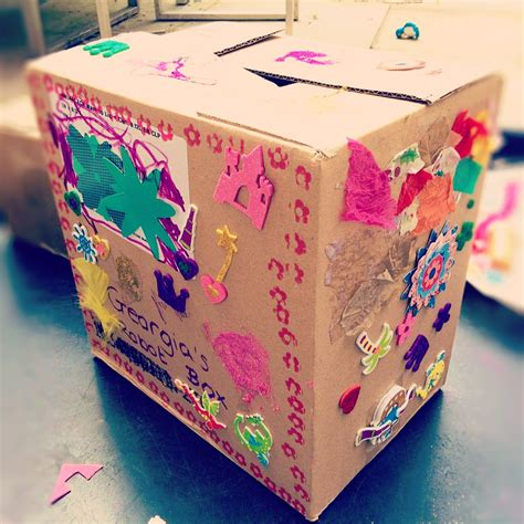 How To Decorate A Box by Cardboard Box Decorating Clare S Tots