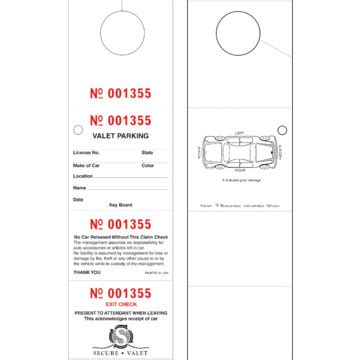 printable valet tickets personalized valet tickets 4 part 2 1 2 quot x 8 1 2 quot pack