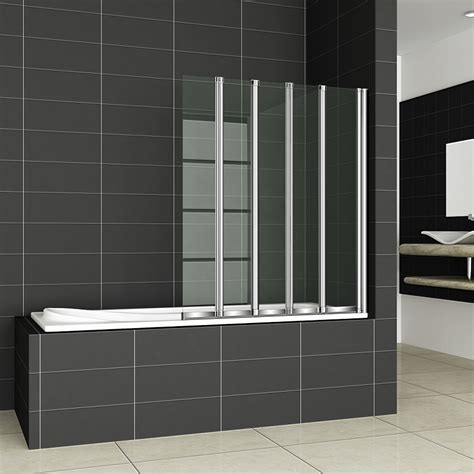 bath with shower screen 4 folds and 5 folds folding bath shower screen bathroom glass door panel ebay