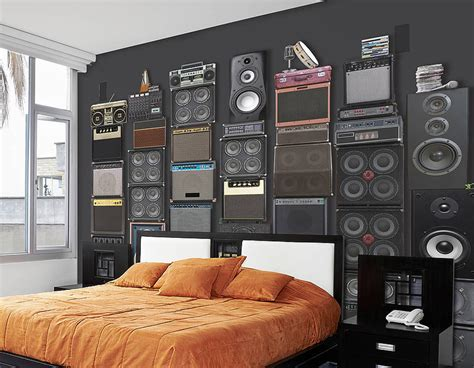 bedroom speakers music speaker stack self adhesive wallpaper contemporary
