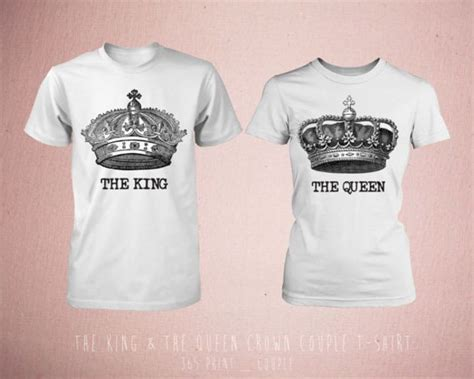 cute matching the king amp the queen crown couple t shirt