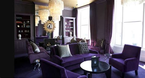 purple themed living room with table ideas home
