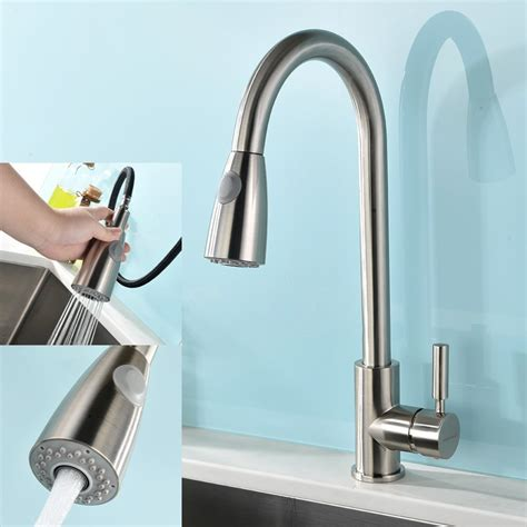 kitchen faucets modern modern single handle stainless steel pull out spray kitchen sink faucet nickel ebay