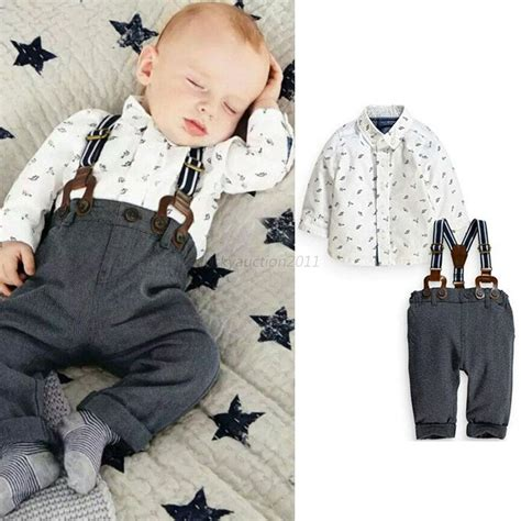 Baby 3in1 2shirt 1pant baby boy toddler t shirt top bib overalls 2pcs set clothes 3m 2y ebay