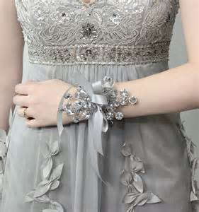 Flower Wristlets For Prom - wrist corsage wedding corsage bridesmaid corsage silver