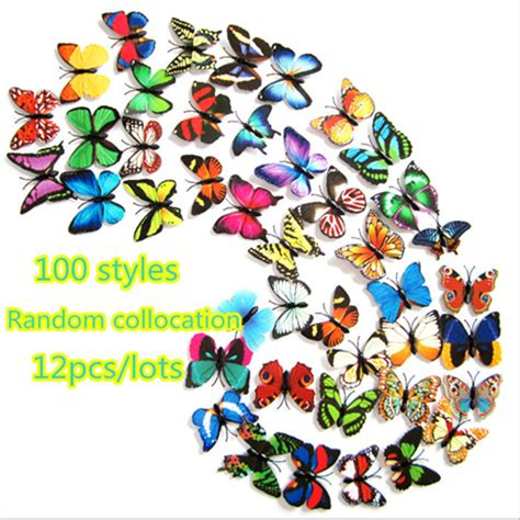 H023 3d Wall Sticker Butterfly Pvc Stiker Dinding Kupu Kupu Motif Te 12pcs Lot Magnet Glue Pvc 3d Butterfly Wall Sticker Home