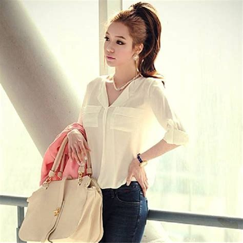 Sleeved Chiffon Shirt 2015 new v neck sleeved chiffon shirt solid black beige business formal