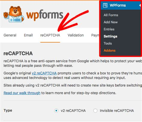 classic setting up google recaptcha for your website how to set up recaptcha in wpforms step by step