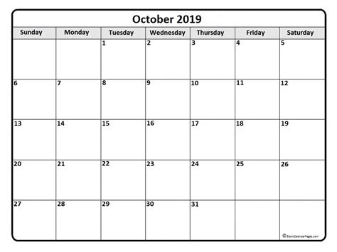 october 2019 calendar october 2019 calendar printable