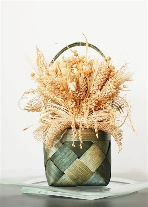 Bloom Box Preserved Flower Beautiful Decoration Decoration Bouquets Of Dried Flowers And Corn Stock Photo Colourbox
