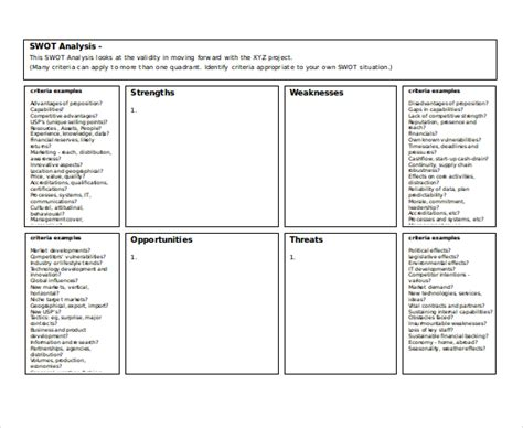 Doc 18202154 Swot Analysis Free Template Word 40 Free Swot Analysis Template Word