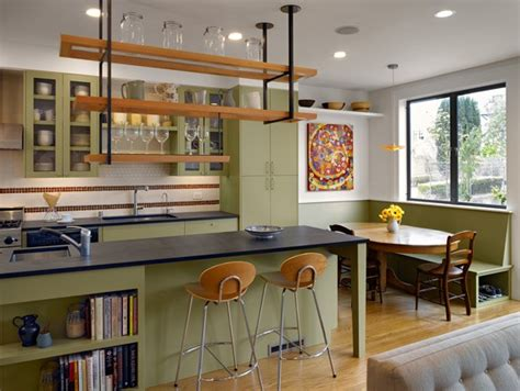 eclectic kitchen hanging shelves green facades oval