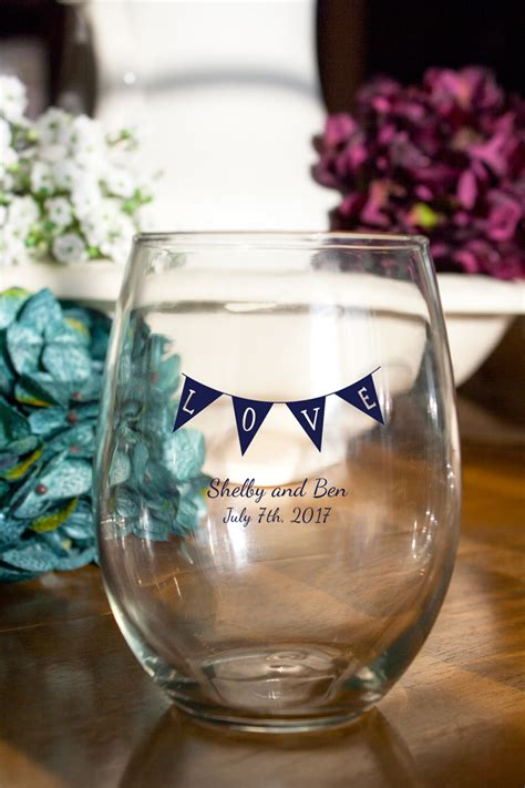 Wedding Favors Wine Glasses by Personalized Stemless Wine Glass Favors
