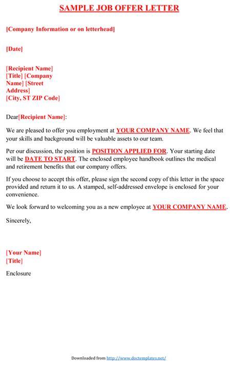 job offer letter sample examples
