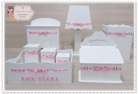 como decorar kit higiene em mdf promo 231 227 o kit higiene beb 234 mdf branco 8 pe 231 as fita nome