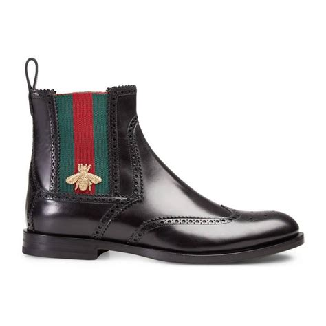black gucci boots for gucci leather boot with web in black for lyst