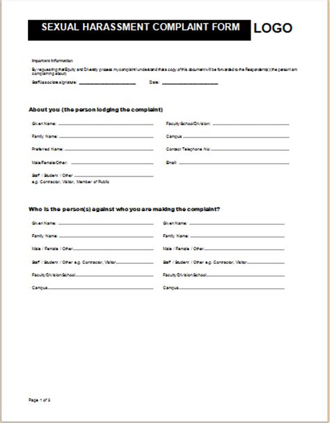 sle harassment complaint form best resumes