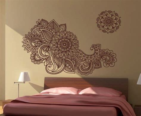 Henna Design Wall Stencils | henna wall stencil decal floral indian sticker for asian