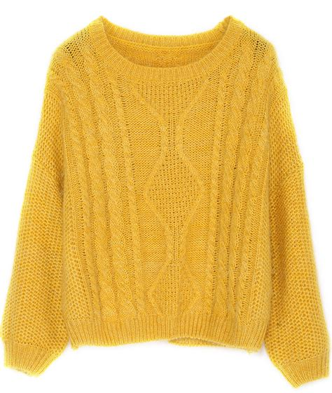 Yellow Sweater split cable knit yellow sweaterfor romwe