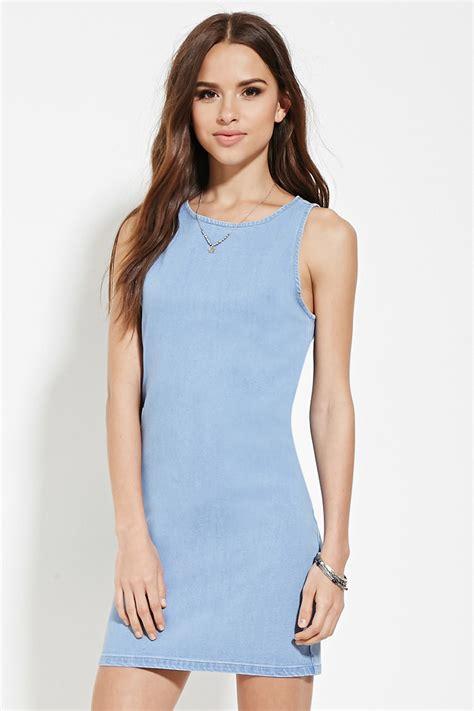 light blue dress forever 21 lyst forever 21 bodycon denim dress in blue