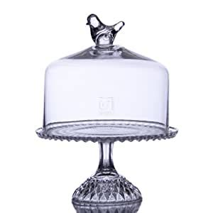 glass footed cake plate  dome bird  top amazonca