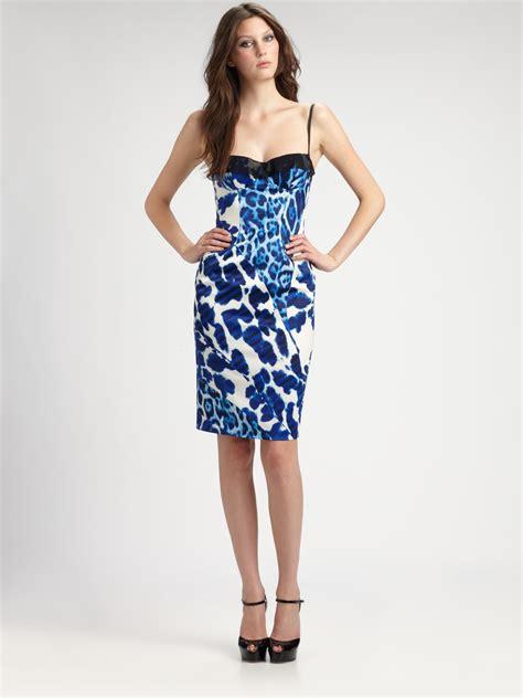 Cavali Dress lyst just cavalli leopard print patchwork bustier dress in blue