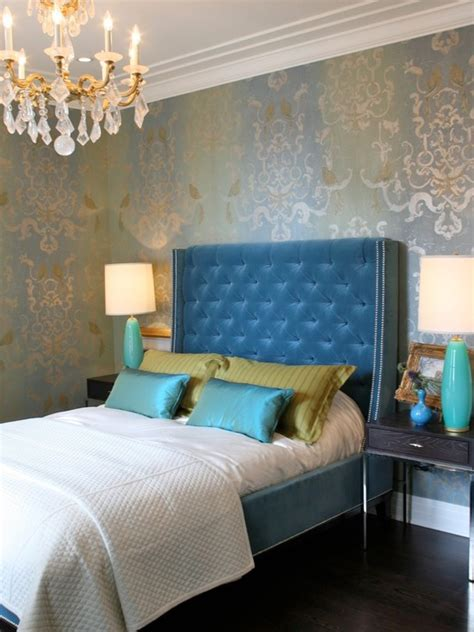 Blue Velvet Headboard Blue Velvet Tufted Headboard Contemporary Bedroom Summer Thornton Design