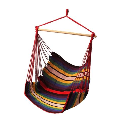 Sgodde garden patio porch hanging cotton rope swing chair seat hammock swinging wood outdoor