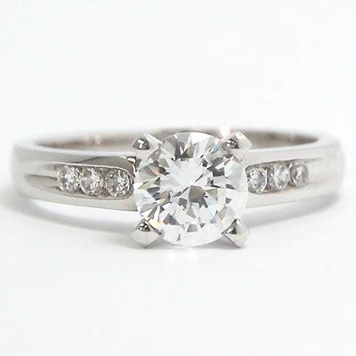 channel set engagement ring 14k white gold