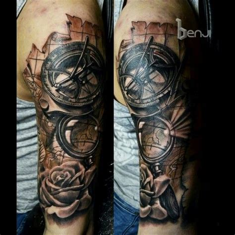 old west tattoos traveller west sundial compass and