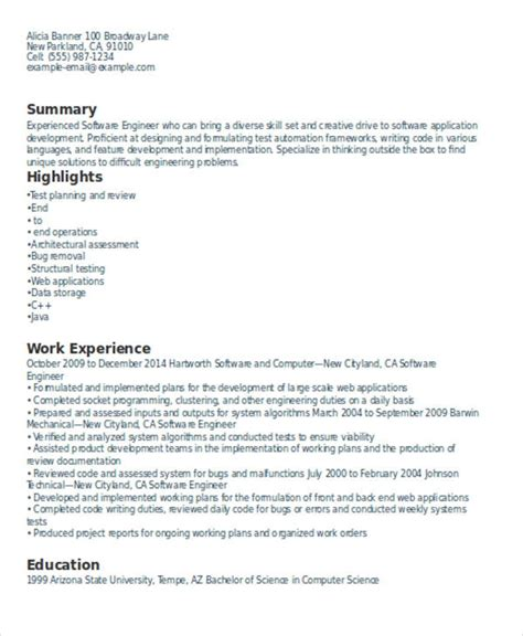 Resume Sles For Experienced Software Professionals experienced resume formats 28 images resume format for