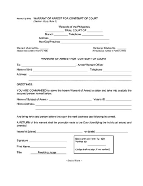 arrest warrant template specimen of warrant of arrest fill printable