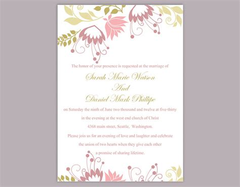 colorful wedding invitation templates diy wedding invitation template editable text word file