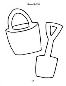 Sand bucket and shovel colouring pages