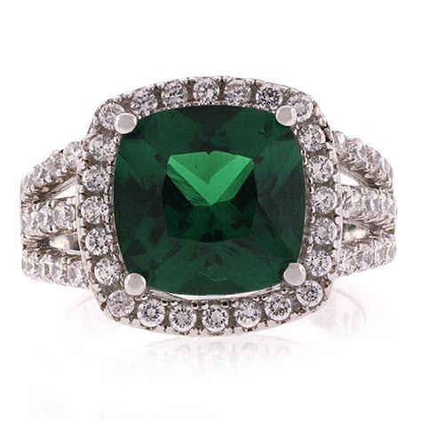 big cushion cut emerald ring silverbestbuy