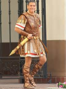 new film like gladiator george clooney in ancient roman armour on set of hail